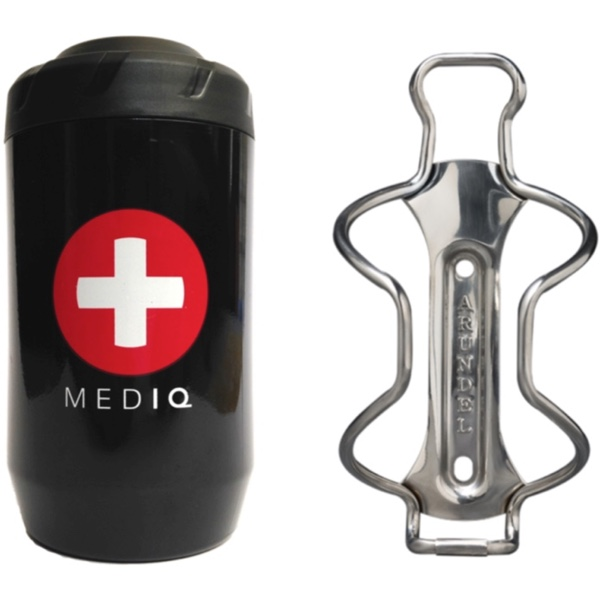 MED IQ first aid kit and Arundel Stainless bottle cage
