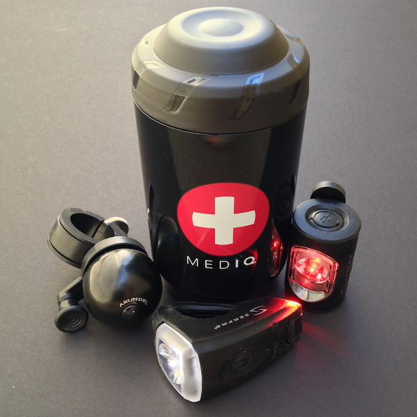 First aid kit, bike lights, and a bell.